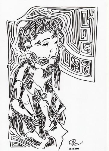 """Título: """"Puppe I"""" Técnica: rotulador sobre papel Fecha: 03/2014"""