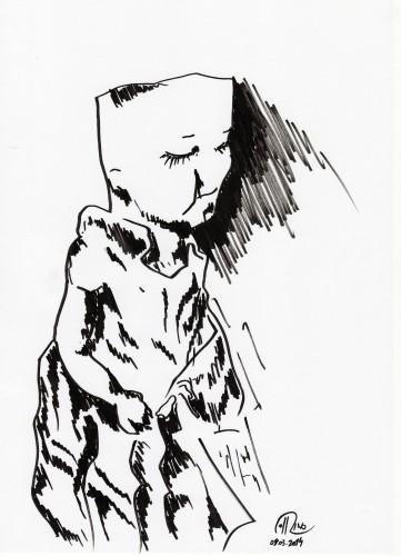 """Título: """"Puppe II"""" Técnica: rotulador sobre papel Fecha: 03/2014"""