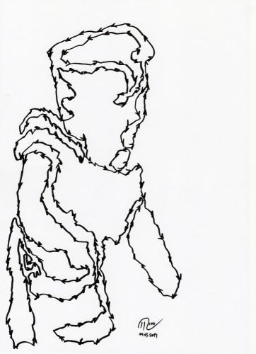 """Título: """"Puppe III"""" Técnica: rotulador sobre papel Fecha: 03/2014"""