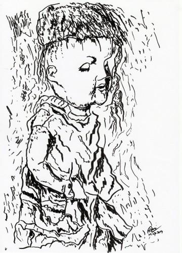 """Título: """"Puppe V"""" Técnica: rotulador sobre papel Fecha: 03/2014"""