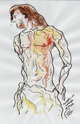 Dibujo - Study 5 after Caravaggio's Flagellation