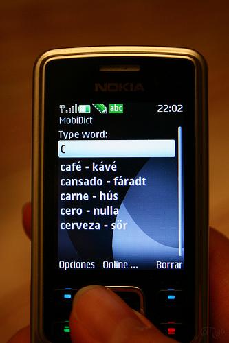 Diccionario en el teléfono móvil
