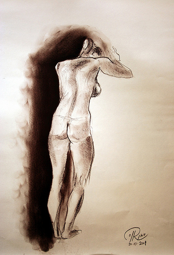 Dibujo - Poniéndose la capa de invisibilidad