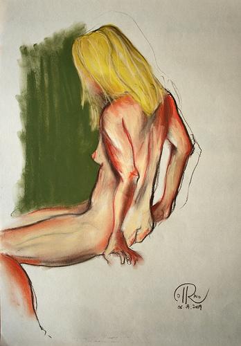 Dibujo - Sentada al borde