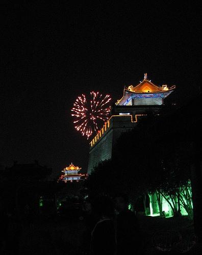 Xian - Muro y fuegos artificiales