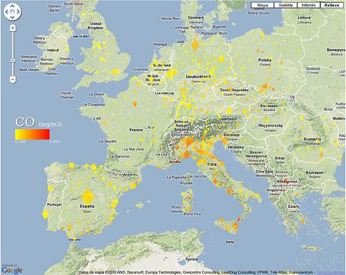 Europa - Niveles medios de monóxido carbónico (CO)