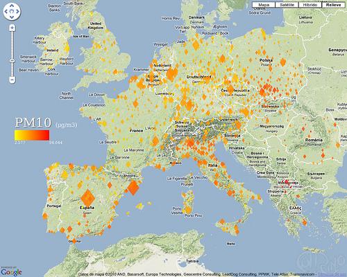 Europa - Niveles medios de partículas en suspensión (PM10)