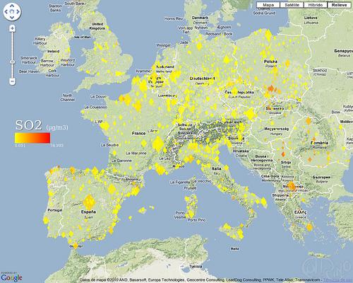 Europa - Niveles medios de dióxido de azufre (SO2)