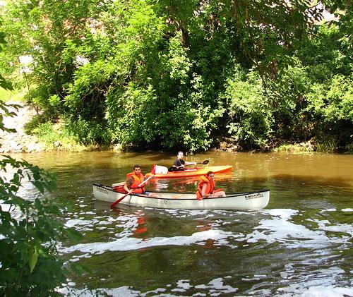 Solnhofen - Joseba, Carlos y Ana en canoa