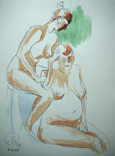 "Título: ""Dos mujeres"" Técnica: acuarela sobre papel Medidas: 30 cm x 40 cm Fecha: 08/2013"