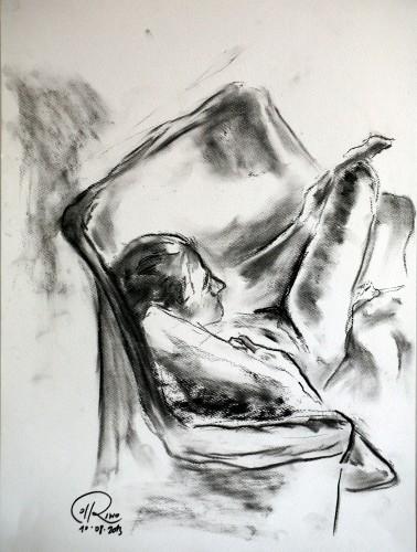 """Título: """"Dormida en el sofá"""" Técnica: carboncillo sobre papel Medidas: 29.7 cm x 42 cm Fecha: 08/2013"""