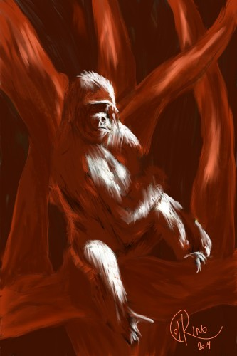 Dibujo - Gorila rojo