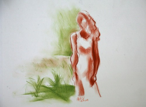 Dibujo - Lady in the forest