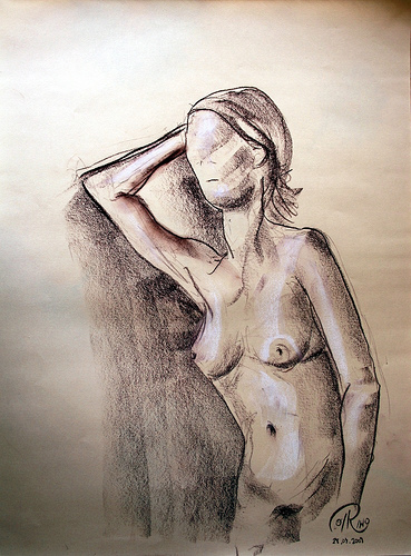 Dibujo - Apoyada en el brazo