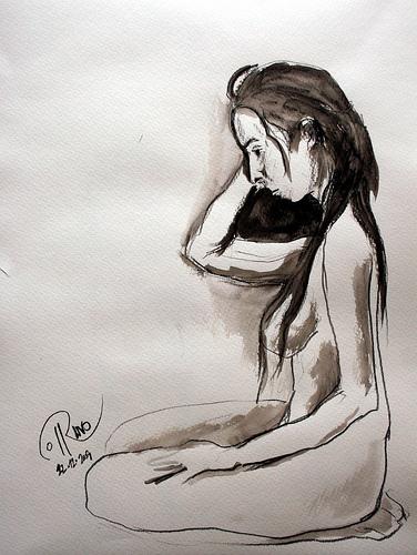 Dibujo - Pensativa