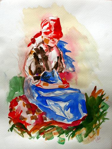 Acuarela - La muchacha del bosque